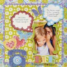 lizzie griffin scrapbook, bff scrapbook, scrapbook idea, scrapbook delight, scrapbook page layouts, cloud, scrapbook pages, cardsanna griffin, friend scrapbook