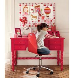 Gorgeous desk for a little girl. love the color