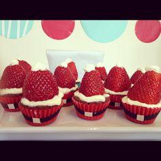 Brownie bite strawberry Santa treats
