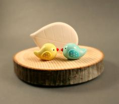 Tree Slice Business Card Holder - Little Birds In Yellow And Blue - Miniature Polymer Clay Animal