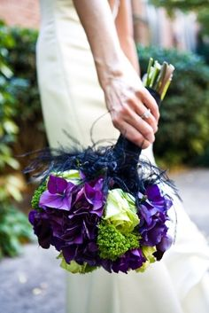 Purple wedding bouquets green