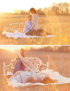 engagement photos with bed in grass... LOVE this session