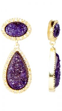 Oval and Tear Shaped Earrings, Purple