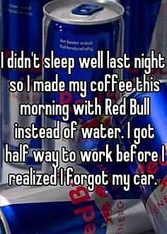 Making coffee with Red Bull…