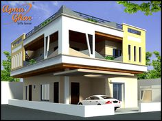 4 Bedrooms Duplex House Design in 216m2 (12m X 18m)   More details - http://apnaghar.co.in/house-design-324.aspx   Call Toll-Free No.- 1800-102-9440 Email: support@apnaghar.co.in