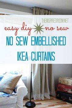 DIY Embellished No Sew Curtains