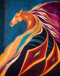 Native War Blanket Horse Art Painting Print Jill by JillClaireArt, $28.00