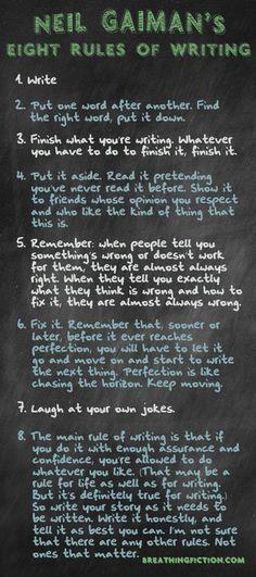 Thoughts on writing from Neil Gaiman. stuff, rule, book, inspir, writing, writer, quot, advic, neil gaiman