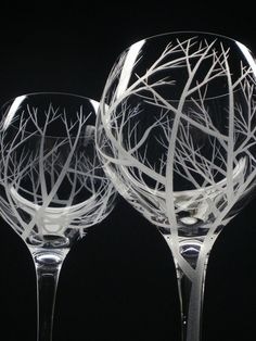 2 Red Wine Glasses Hand Engraved 'Reaching by daydreemdesigns on Wanelo