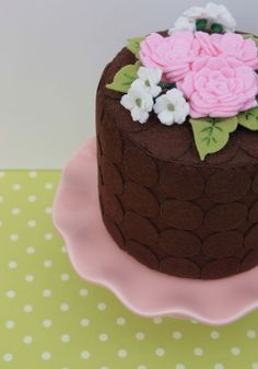 Felt Cake Chocolate Dots And Pink Summer Roses