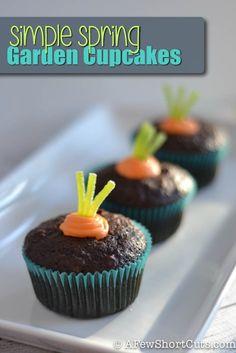 Simple Spring Garden Cupcakes #recipe! Perfect for Easter, Spring, or even a garden party!