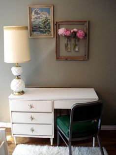 What a dream home office! Brought to you by Shoplet.com - everything for your business. living rooms, empty frames, office decor, hanging flowers, framed art, flower vases, fresh flowers, wall flowers, mason jars