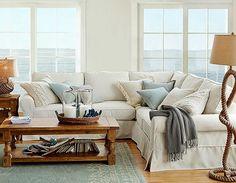 decor, potterybarn, coffee tables, living rooms, couch, potteri barn, beach hous, live room, pottery barn