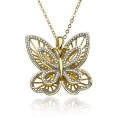 "Yellow Gold Plated Sterling Silver Butterfly Pendant and Diamond Accent, 18"" $45"