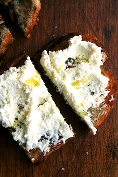homemade ricotta tartines with truffle oil and sea salt