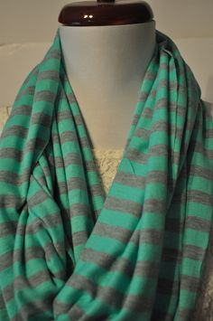 Mint and Grey Stripe Infinity Scarf in Soft Jersey Knit