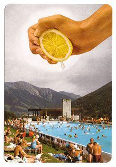 http://lespapierscolles.wordpress.com/2013/03/04/bene-rohlmann/ #art #collage piscine citron