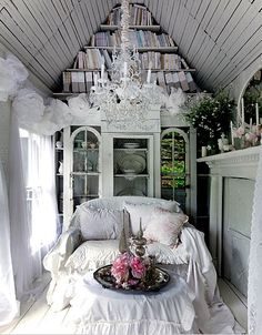 HOME: Shabby Chic. Lace curtains. French country,
