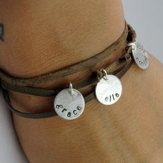 Mom Bracelet - personalized - Leather Wrap Bracelet - Handstamped Jewelry for Mom - EcoFriendly Recycled Silver - for the Hip Mom. $82.00, via Etsy.