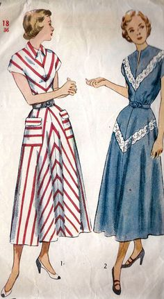 """Mama always wore """"house dresses"""" she made herself. She didn't start wearing pants until after she was diagnosed w/MS and she couldn't wear heels. She quit wearing hats at the same time. Shel loved dressing up and she said it just wasn't the same if she couldn't wear at least little heels.  1940s Misses Dress"""