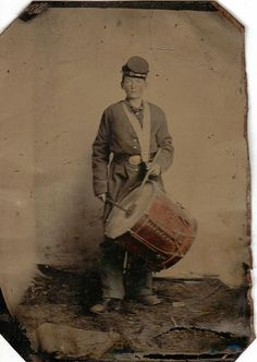 Quarter plate tintype of young Union drummer boy.