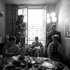 "Belmondo Seberg Godard - On the set of ""A bout de souffle""  Photo by Raymond Cauchetier"