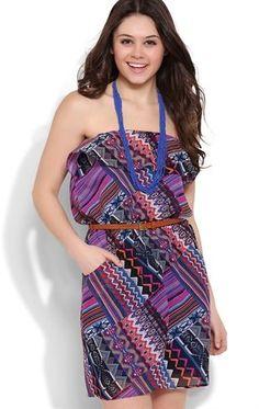 Deb Shops Strapless Blouson Ruffle Dress with Multicolor Diamond Tribal Print $35.00