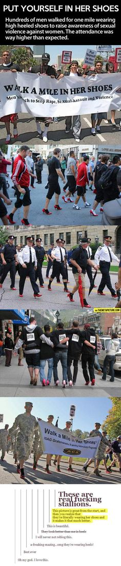 This is awesome real man, humanity restored, walk a mile in her shoes, amaz, real men, wonderful men, men wear, awesome things people do, calves