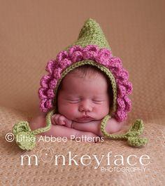Ravelry: Pink Petals Flower Crochet Pixie Baby Bonnet pattern by Bailee Wellisch