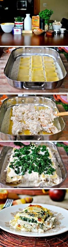 White Cheese Chicken Lasagna. 9 Lasagna Noodles, cups Butter, 1 Onion, Chopped, 1 clove Garlic, Minced, cups Flour, 1 teaspoon Salt, 2 cups Chicken Broth, 1- cup Milk, 4 cups Shredded Mozzarella, Divided, 1 cup Grated Parmesan Cheese, Divided, Plus more For Topping, 1 teaspoon Each, Dried Basil Oregano, teaspoons Pepper, 2 cups Ricotta, 2 cups Cooked, Cubed Chicken, 10 Oz Frozen Chopped Spinach, Thawed Drained, 1 Tablespoon Chopped Fresh Parsley