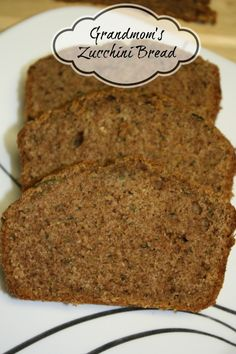 Grandmom's Zucchini Bread        Update: Had to make this recipe right away...so good!  If I can get my girls to eat it, it must be good!  :D It's not too sweet either, just right!