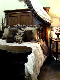 Image detail for -Tuscan Style Bed with High Headboard Rustic Bedroom Furniture Platform ...