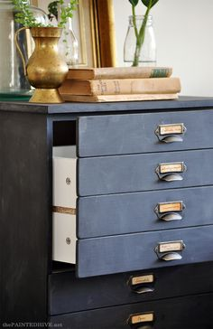 DIY Faux Multi-Drawer Cladding (a cheap flat-pack/knock-down is transformed into a library catalogue)   The Painted Hive