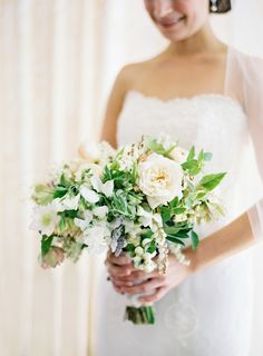 Love this natural free-form bouquet from Cherries Flowers; Photo by Jose Villa on Style Me Pretty:  http://www.StyleMePretty.com/2014/03/04/elegant-outdoor-wedding-in-kenwood-california/