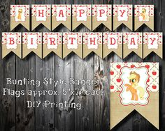 Country Pony- My Little Pony Happy Birthday Banner by LalaHeaven on Etsy, $3.50