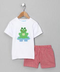 short, monday child, white frog, infant, frog tee