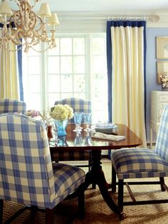 Blue and cream dining room