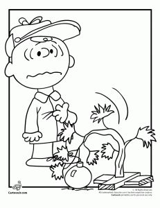 Charlie Brown and his Drooping Christmas Tree Coloring Page
