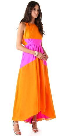 tibi dress. orange + pink!