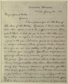 Letter to Joseph Hooker from Lincoln, January 26, 1863.