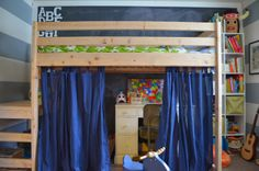 Shared Kids Room - DIY Loft Bed by Meg Padgett from Revamp Homegoods www.revamphomegoods.com shared kids rooms, kid rooms