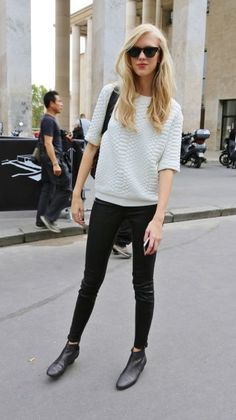 White cable sweater,black jeans