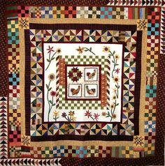 A round robin quilt:  Roosters On A Lark