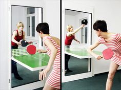 Cool door turns into a ping pong table when needed