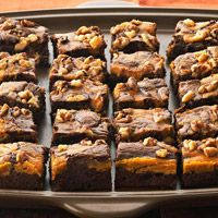 Marbled Chocolate-Pumpkin Brownies.  Such a fun spin on brownies for the fall!