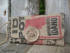 A chic clutch made out of a potato sack