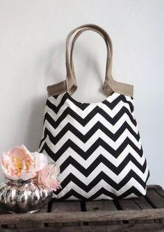Hand Bag Purse Black and white chevron carry on hobo bag with burlap FASHION. $65.00, via Etsy.