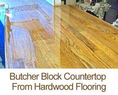 Easy Butcher Block Countertop Tutorial using hardwood flooring  #hardwood flooring #butcher block countertops
