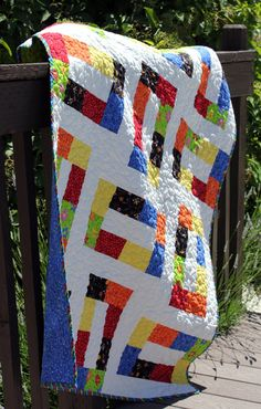 Unlinked  a PDF Quilt Pattern  Baby Throw and by aBrightCorner,