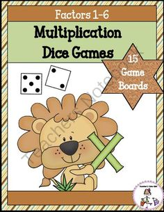 Multiplication Dice Games -Factors 1-6! Enter for your chance to win 1 of 3.  Multiplication Dice Games Using Facts 1-6 (34 pages) from Teachers Take Out on TeachersNotebook.com (Ends on on 8-27-2014)  Fun and engaging multiplication games for factors 1-6. Just print and play!